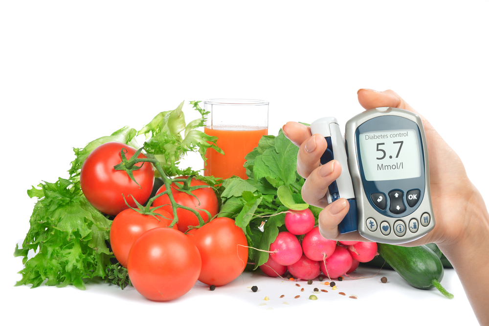 Diabetes tester and vegetables